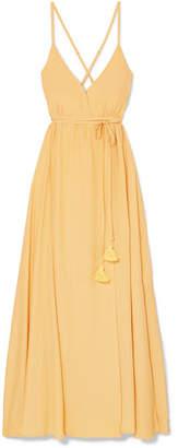 Faithfull The Brand Santa Rose Tasseled Wrap-effect Voile Maxi Dress - Pastel yellow