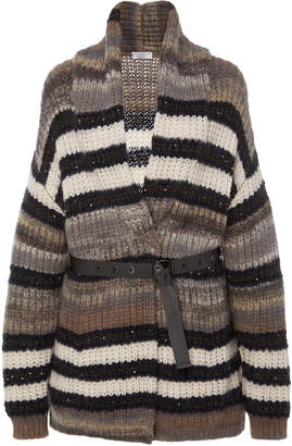 Brunello Cucinelli Belted Striped Cashmere Cardigan