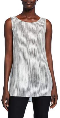 Eileen Fisher Sleeveless Striped Silk Long Shell
