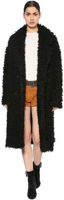 Saint Laurent Double Breasted Sheep Fur Coat