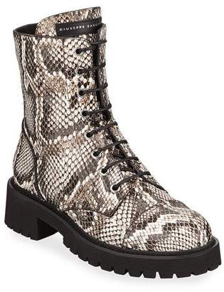 5e450ab0f Giuseppe Zanotti Python-Embossed Leather Combat Boots