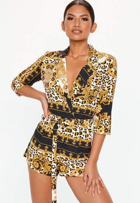 Black Leopard Chain Print Blazer Playsuit, Gold