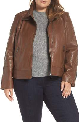 Bernardo Lambskin Leather Moto Jacket