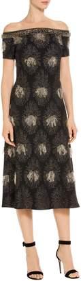St. John Fil Coupe Knit Off Shoulder Dress