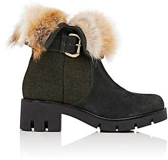 Mr & Mrs Italy Women's Fur-Collar Suede & Felt Ankle Boots - London Green, Nat