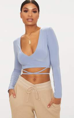 PrettyLittleThing Powder Blue Slinky Long Sleeve Tie Waist Crop Top