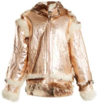 Marques'almeida - Oversized Buckle Shearling Jacket - Womens - Gold