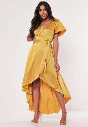 cb62fa223b398 Missguided Mustard Satin Wrap Front Ruffle Midi Dress