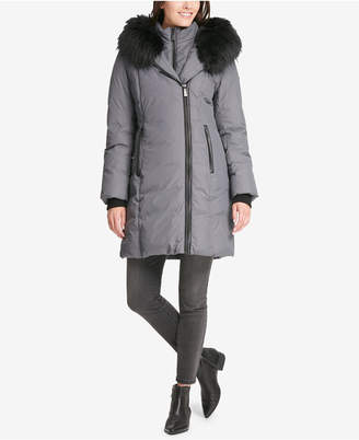 DKNY Faux-Fur-Trim Hooded Puffer Coat
