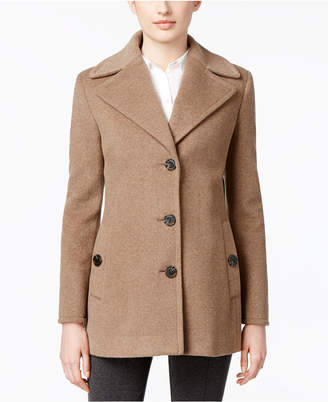 Calvin Klein Petite Wool-Cashmere-Blend Single-Breasted Peacoat