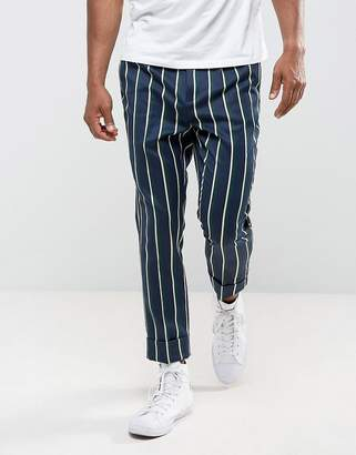 Asos Tapered Smart Pants In Stripe