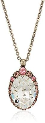 Sorrelli Crystal Rose Adorned Oval Crystal Pendant Necklace