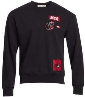 McQ Men's Embroidered Patch Sweatshirt - Darkest Black - Size Medium