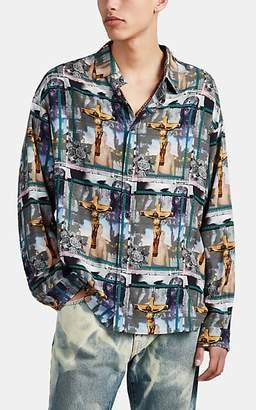 424 - Born X Raised Men's Crucifix-Photo-Print Plain-Weave Shirt