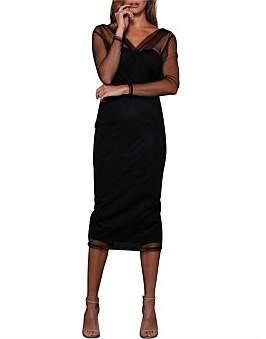 Elle Zeitoune Long Sleeve Mesh V Neck Crossover Dress