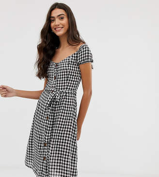 Brave Soul Tall off shoulder midi dress in gingham with button front