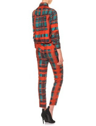 Peter Som Emerald Plaid Silk Trousers