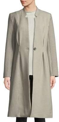 Joie Paiton Check Button-Front Long Coat