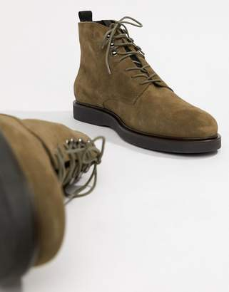 H By Hudson Battle lace up boots in khaki suede