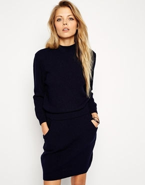 ASOS Sweater Dress With Elasticated Waist And Turtleneck - Navy