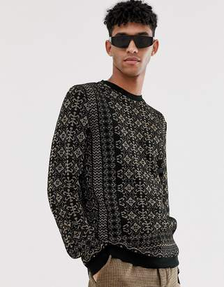 Asos Design DESIGN sweater with gold metallic baroque design in black