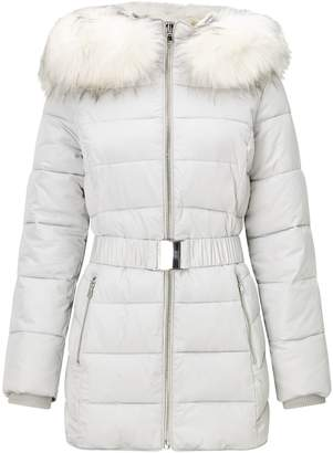 Miss Selfridge Longline Belted Puffer Silver Jacket