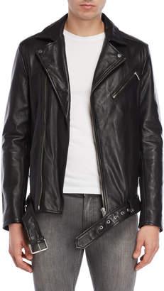 Lth Jkt Belted Leather Biker Jacket