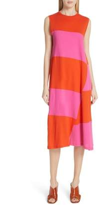 Elizabeth and James Dove Asymmetrical Stripe Dress