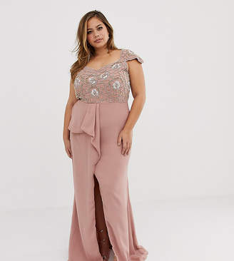 e490494bee2fb6 Virgos Lounge Plus embellished bardot maxi dress with ruffle detail in pink