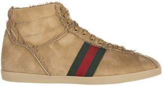 Gucci men's shoes high top suede trainers sneakers shearling US size 429596 BND60 266