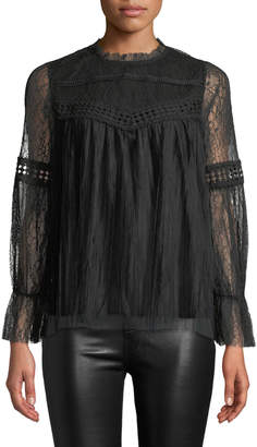 Lumie Mixed-Lace Long-Sleeve Pleated Top