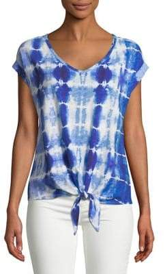 Lord & Taylor Plus Tie-Dye Front-Tie Top