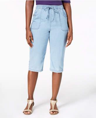 Karen Scott Petite Cotton Denim Capri Pants, Created for Macy's