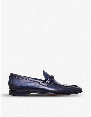 Braid-trimmed leather loafers