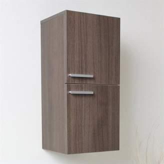 Fresca Senza Bathroom Linen Side Cabinet with Storage Areas in Gray Oak