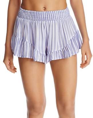 Surf Gypsy Striped Ruffle Swim Cover-Up Shorts