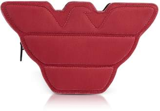 Emporio Armani Red Velvet And Black Leather Eagle Clutch