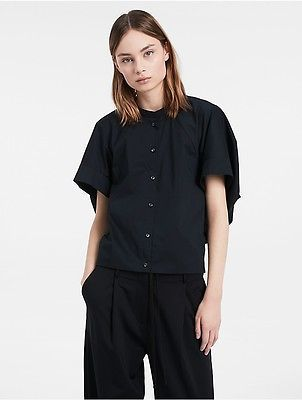 Calvin Klein Calvin Klein Womens Platinum Fine Stretch Poplin Short Sleeve Top Shirt Black 38