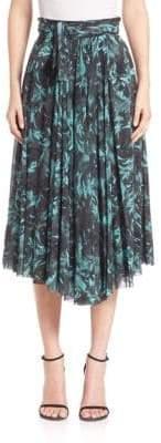 Fuzzi Rose-Print Tie-Waist Midi Skirt