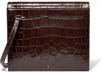 Gu_de - Edie Croc-effect Leather Shoulder Bag - Dark brown