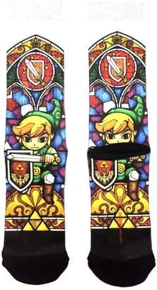 Bioworld Nintendo Legend of Zelda Link Stained Glass Sublimated Crew Socks