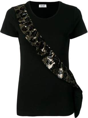 Liu Jo sequin ruffle detail T-shirt