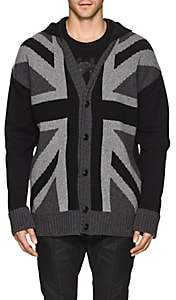 Pierre Balmain MEN'S UNION JACK WOOL-BLEND HOODED CARDIGAN-DARK GRAY SIZE 54 EU