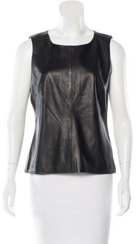 Trina Turk Sleeveless Leather Blouse