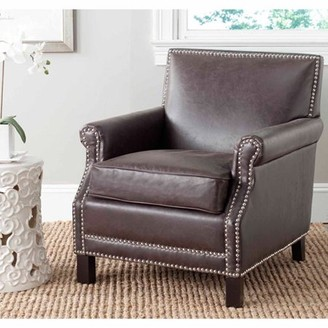 Safavieh Easton Rustic Glam Upholstered Club Chair w/ Nailheads