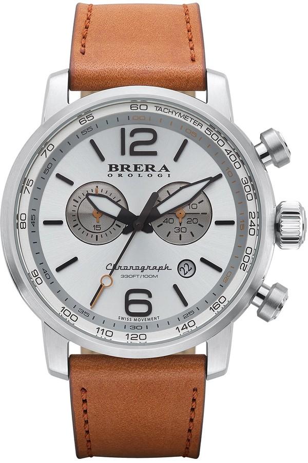 BreraBrera Men's Dinamico Genuine Leather Strap Swiss Made Quartz Watch