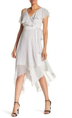 Sangria Asymmetrical Sleeve Print Dress