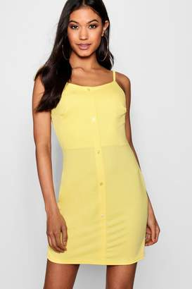 boohoo Button Through Tie Strap Sun Dress