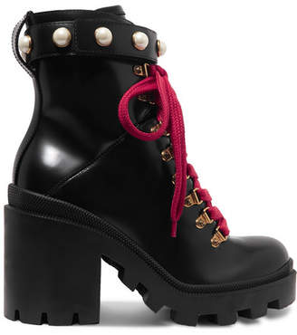 Gucci Trip Faux Pearl-embellished Leather Ankle Boots - Black