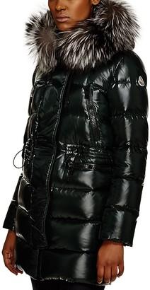 Moncler Aphrotiti Metallic Cinched Waist Down Coat $1,895 thestylecure.com